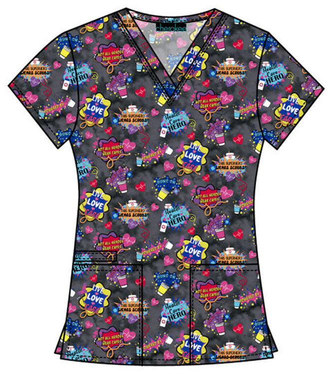 Picture of CK616 - V-Neck Print Top
