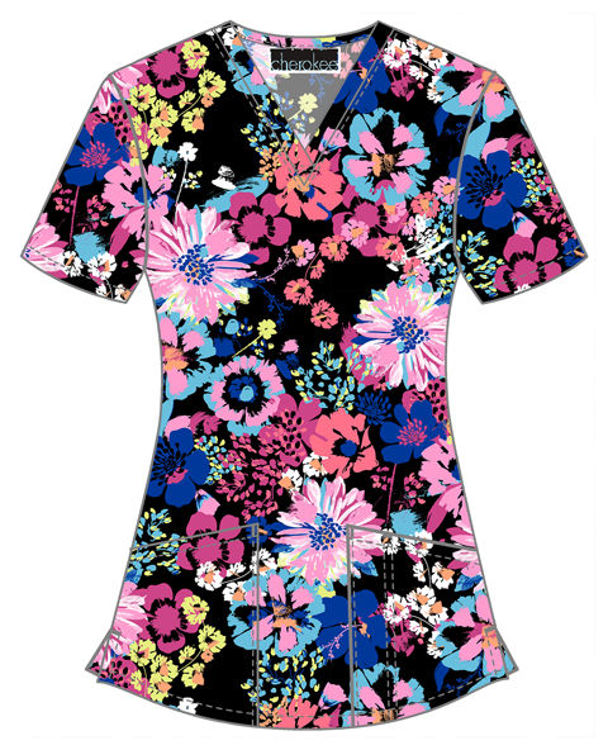 Picture of CK662 - V-Neck Print Top